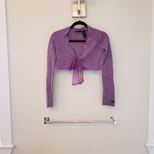 DKNY Jeans, deep lilac cropped cardigan